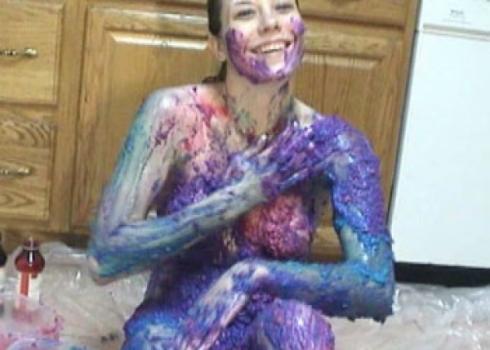 Halley turns herself blue