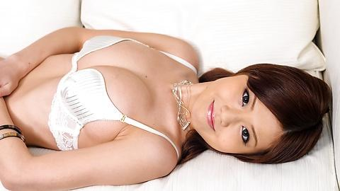 Sexy Nao in white lingerie fondles her boobs