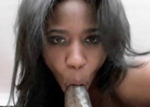 Ebony Jade gets splattered with cum